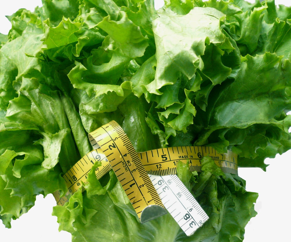 lettuce with measuring tape